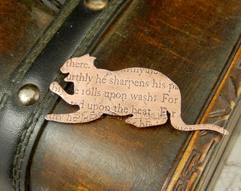 Cat brooch, copper cat pin, cat jewellery, animal jewellery, cat lover gift, cat fancier gift, text jewellery, quote jewelry, steampunk cat