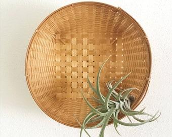 Vintage Round Woven Basket Wall Hanging Boho Home Decor