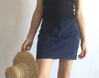 French LesCopains | Cotton blue mini-skirt | pencil skirt
