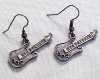 Antiqued Brass Guitar Earrings, Music Jewelry, Musician, Bronze Pierced Dangle Earrings