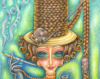"""A Most Accomodating Hostess - an 8 x 10"""" ART PRINT of an elegant smoking woman who welcomes all kinds to her fancy soirees espeacially mice"""