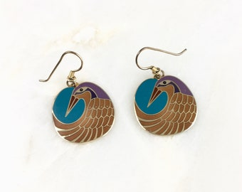 Vintage Laurel Burch Enamel Gold Tone Bird Earrings