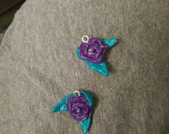Polymer clay rose charm/pendant