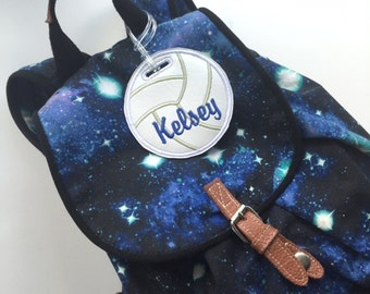 Personalized volleyball bag tag, volleyball team gift, volleyball name tag, sports bag tag