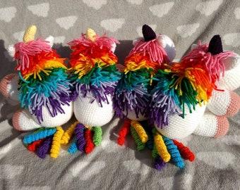 Rainbow unicorn, gift for little girl, baby shower gift, cuddly unicorn, plush toy