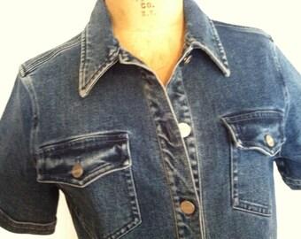 Vintage Denim Short Sleeve UNGARO Dress 8