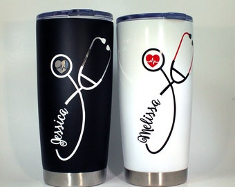 Nurse Stethoscope Yeti Like Travel Cup, Nurse Gift, Nurse Appreciation Gift, Registered Nurse, Gift For Nurse, Nurse Yeti, Nurse to go cup