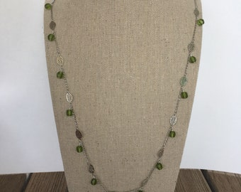 Leaf chain necklace with olive green Czech glass accent beads