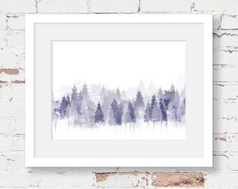 forest printable, forest art print, instant download printable art, minimalist art print, neutral nursery art, woodland printable