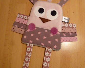 Flat plush pink and grey OWL