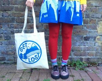 Get Lost Tote Bag, Funny Tote Bag, Adventure Print, Mountain Print, Screen Print Bag, Cute Shopper, Explore Print, Cute Tote Bag, Fun Gift
