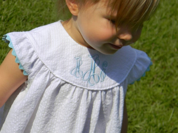 Girls Monogrammed Seersucker Dress with Angel Sleeve, Choose Rick Rack Trim color, Perfect for Beach Photos, Matching Boy outfit available