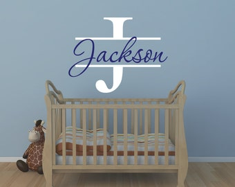 Personalized Monogram Kids Wall Decals - Baby Boy Nursery Wall Decal - Boys Wall Decal - Name Vinyl Lettering - Vinyl Wall Decal