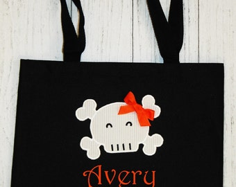 Monogrammed Skull Halloween Tote (with or without bow)