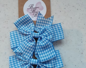 pair of gingham hair clips - choose red or blue set