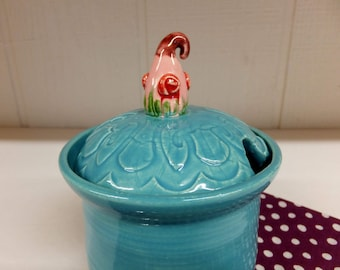 Fairy House Sugar Bowl, Handmade Ceramic Pottery Honey Pot