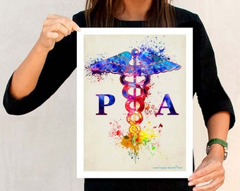 "Watercolor Physician Assistant PA - Caduceus, 11"" x 14"" print, Medical print, Nurse graduation gift, Physician Assistant certification gift"