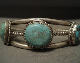 Superior Vintage Navajo Spiderweb Turquoise Silver Bracelet