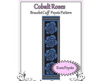 Bead Pattern Peyote(Bracelet Cuff)-Cobalt Roses