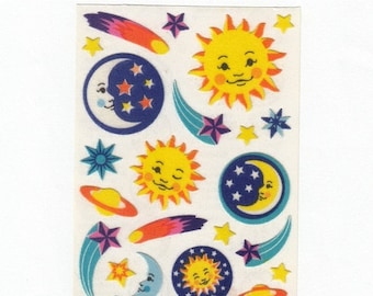 SALE Celestial Sandylion Fuzzy Maxi Sheet of Vintage Stickers - Sun Moon Shooting Star Saturn Planet Meteor Scrapbook Collage