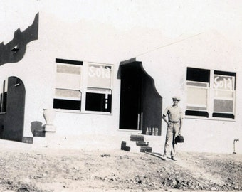 vintage photo Los Angeles Dream Home Builder Stucco For Sale Sign Window