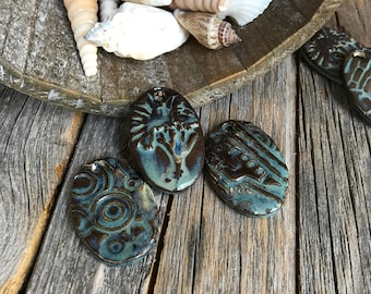 Set of 3 Assorted Rustic Blue Ceramic Oval Pendants    Pottery Charms   Blue Stoneware pendants   DIY Jewelry Supply   DIY Necklace supply