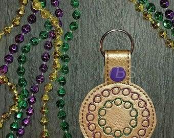 Mardi gras beads key fob