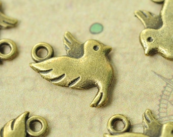 20pcs Antique Bronze Little Bird Charms Double Sided 13x14mm MM766