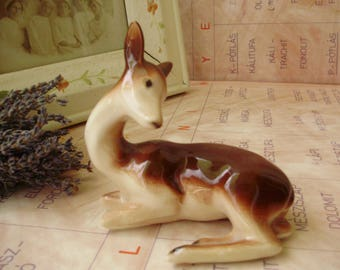 Vintage Russian  porcelain animal figurine,fawn , ,handpainted