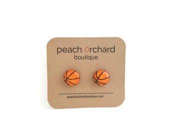 Hand Drawn Basketball earrings - Basketball Jewelry - Basketball player - Basketball gift - Stocking stuffers - Christmas gift