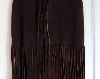 Vintage Dark Brown Suede Fringe Vest from the 1960s Hippy Vest Halloween Costume & Brown fringe vest | Etsy