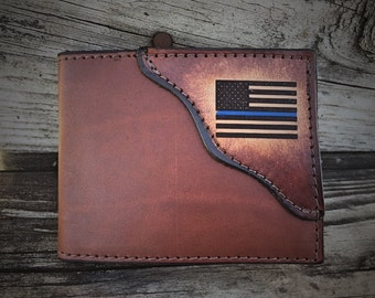 Thin Blue Line wallet,  Father's day gift, Policeman wallet,  Initials Engraved Free!