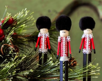 Pinspot Christmas Soldier Clothespin Ornaments