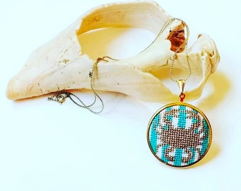 DIY Needlepoint Jewelry Kits: Crab Pendant