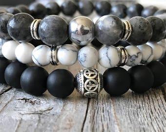 Gemstone bracelet set, woman or men bracelet, Stretch stacking bracelet, Bohemian beaded bracelet, men or woman jewelery, unisex gift idea