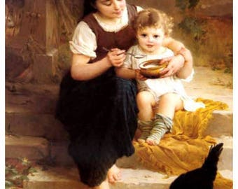 """William Adolphe Bouguereau,  Sisters look at new chick,  canvas art print, fine art print, antique art,  sisters,  familial art, 8x10"""" canva"""