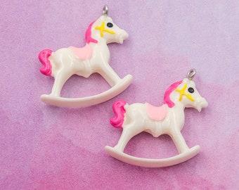 Rocking Horse Pendant, 5pcs, Resin Pendants, White Rocking Horse -B38