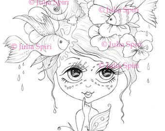 Digital stamp, Digi, Sea, Fish, Flowers, Butterfly, Girl, Big Eyes, Fairytale, Fantasy, Whimsical Coloring pages Crafting Cardmaking. Whimsy