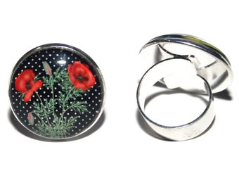 Cabochon Adjustable ring the poppies/25 mm glass