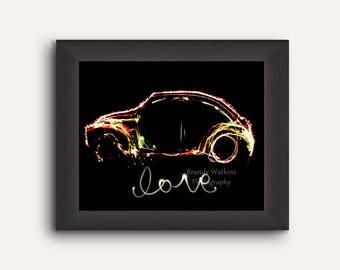 Car decor, fine art photograph print, Love Bug, fine art photography, light painting, punch buggy, wall decor, painting with light, car art