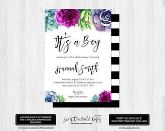 Succulent Baby Shower Invitation It's a Boy Southwestern Boho Black Stripe Green Purple Teal Printable Digital File or Printed Invitations
