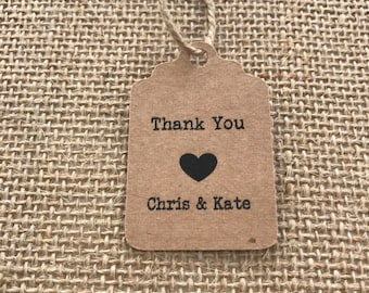 Thank you Tags - Party Favour Tags - Wedding Favour Tags - Engagement Favour Tags - Kraft Paper Tags - Customised Tags with First Names