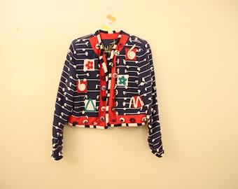 Wacky Nautical 90s Crop Jacket *Flat Rate Shipping* [Cute Vintage Coat Officewear Women's Size Small]