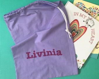 Personalised Library Bag Kindy Preschool Dancing Gymnastics Drawstring Custom Made