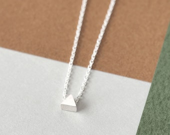 Micro Tiny Triangle Necklace 925 Sterling Silver Minimalist Jewelry