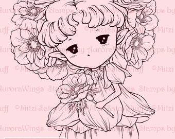 Anemone Sprite - Aurora Wings Digital Stamp - Little Anemone Flower Fairy - Fantasy Line Art for Arts and Crafts by Mitzi Sato-Wiuff