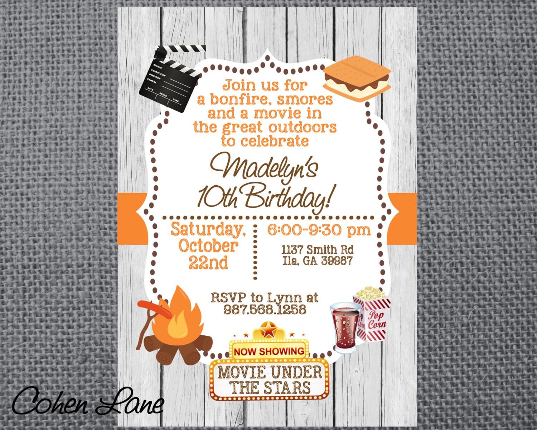 Printable Birthday Party Invitation. Camping invite. Bonfire