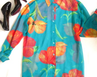 90s Sheer Floral Blouse / 1990s Sheer Spring Blouse / BRIGHT BLOOMS Colorful Bold Floral Blouse