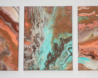 abstract art canvas painting original triptych turquoise copper terracotta brown gold 3 canvasses