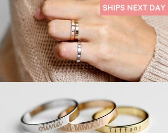 Stacking Ring Engraved Ring Personalized Ring For Women Graduation gift for her Inspirational Ring Custom Name Ring Coordinate rings - R4